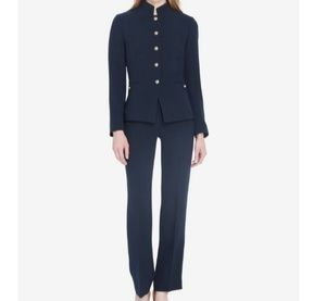 Tahari ASL 2 Piece Pant/Jacket Suit Size 10 Navy